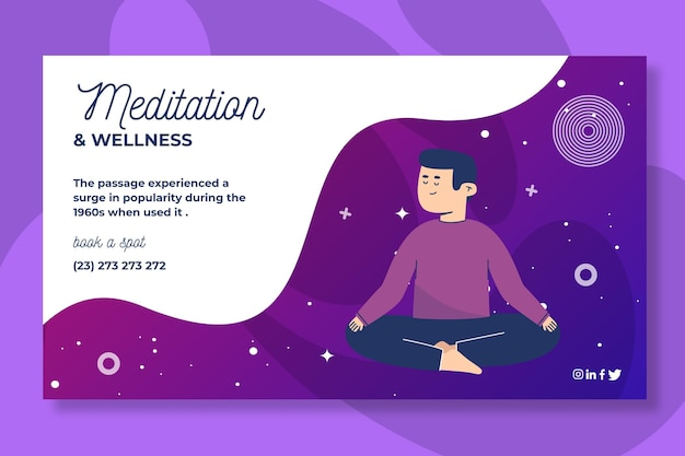 Estilo de banner de meditação e atenção plena