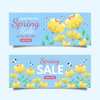 Estilo de banners de venda primavera design plano