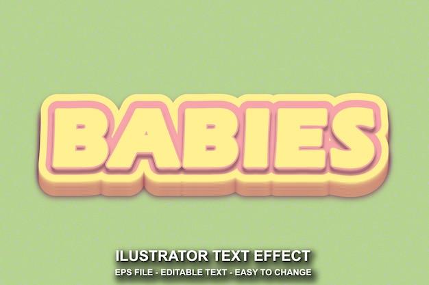 Estilo de bebês com efeito de texto editável