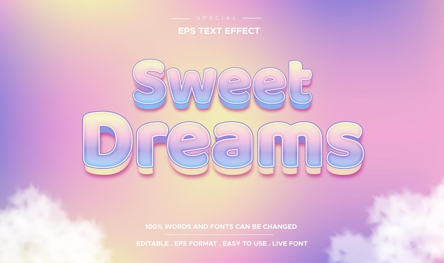 Estilo de bons sonhos com efeito de texto editável