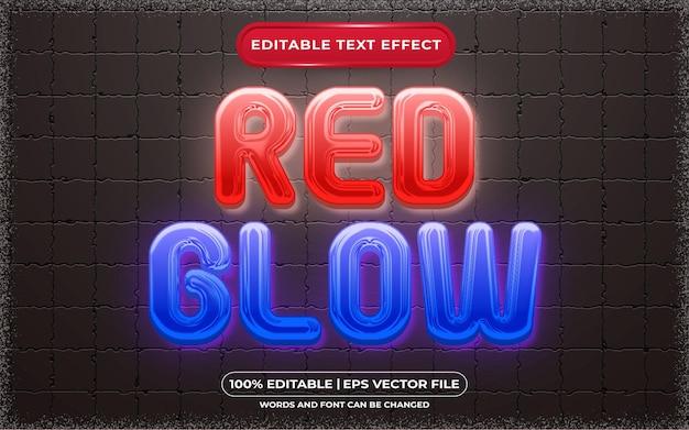 Estilo de brilho vermelho com efeito de texto editável