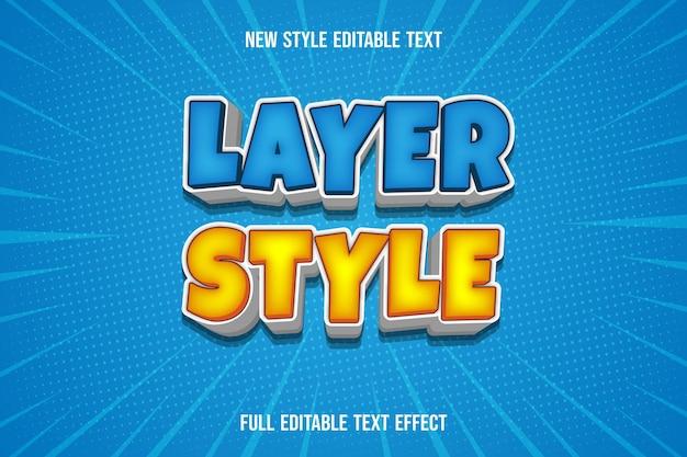 Estilo de camada de efeito de texto cor azul e amarelo branco gradiente