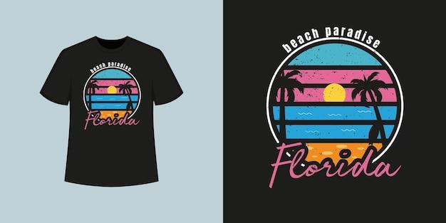 Estilo de camisa t da praia do oceano da flórida e design de roupas da moda com silhuetas de árvores, tipografia, impressão, ilustração vetorial.