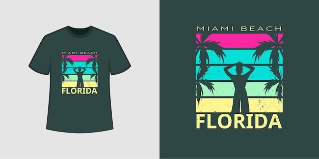 Estilo de camisa t da praia do oceano da flórida e design de roupas da moda com silhuetas de menina e árvore, tipografia, impressão, ilustração vetorial.