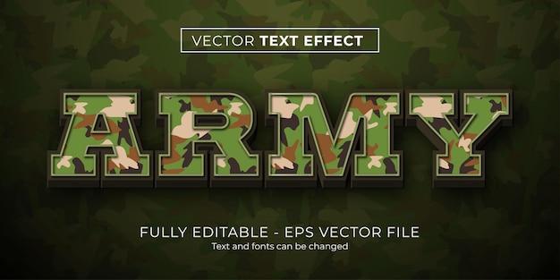 Estilo de camuflagem do exército com efeito de texto editável