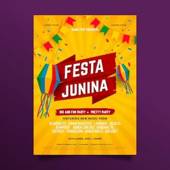 Estilo de cartaz de evento festival de junho
