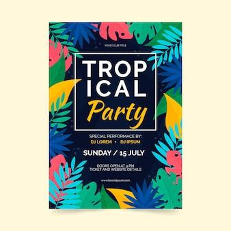 Estilo de cartaz de festa tropical