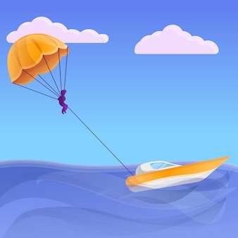 Estilo de cartoon de ilustração de conceito de parasailing