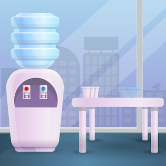 Estilo de cartoon de ilustração de escritório de água mais fresca