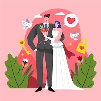 Estilo de casais de casamento desenhados à mão