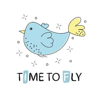 Estilo de clipart de vetor desenhado na mão. pássaro bonito com tempo de texto para voar - para impressão, elementos de decoração, cartão, pôster, banner, camiseta
