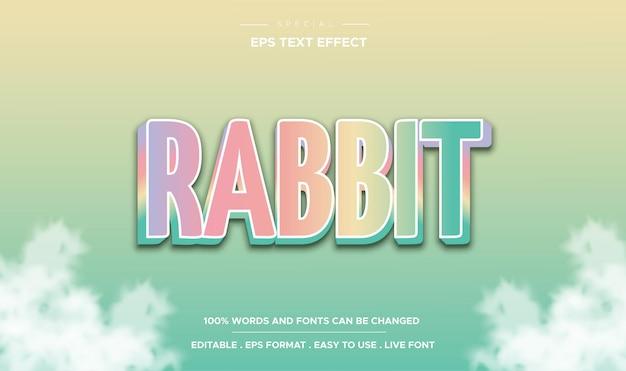 Estilo de coelho com efeito de texto editável