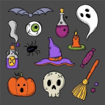 Estilo de coleção de elementos de halloween