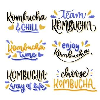 Estilo de coleção de letras de chá de kombuchá