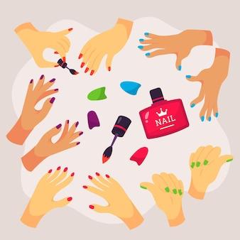 Estilo de coleção de mãos manicure