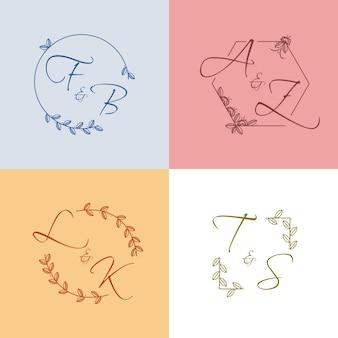 Estilo de coleção de monograma de casamento colorido