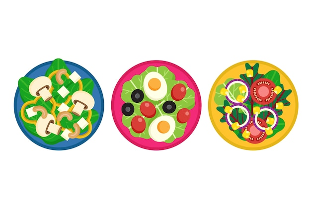 Estilo de coleção de taças e saladas