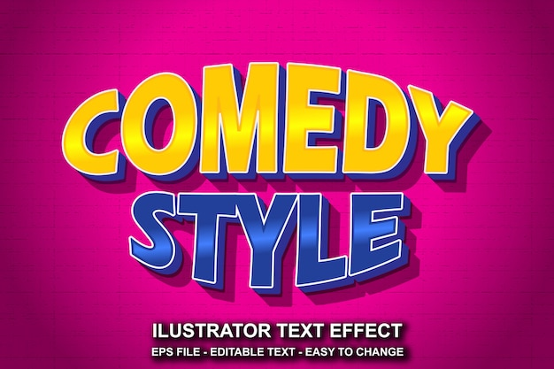 Estilo de comédia de efeito de texto editável