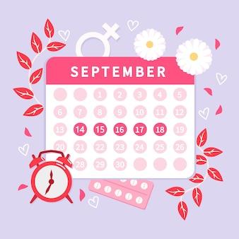 Estilo de conceito de calendário menstrual