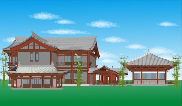 Estilo de construção chinesa de vetor, ilustração japonesa