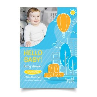 Estilo de convite de chuveiro de bebê com foto