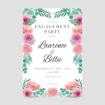 Estilo de convite de noivado floral