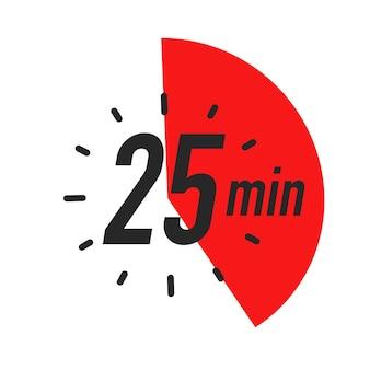 Estilo de cor do símbolo do temporizador de 25 minutos isolado no fundo branco. relógio, cronômetro, etiqueta de tempo de cozimento, ícone do esporte. vetor 10 eps