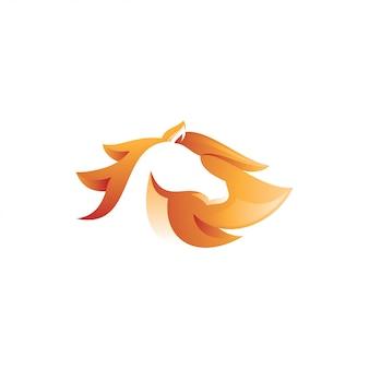 Estilo de cor gradiente abstrata do logotipo do cavalo