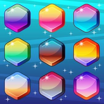 Estilo de cor gradiente hexagonal que é brilhante e brilhante