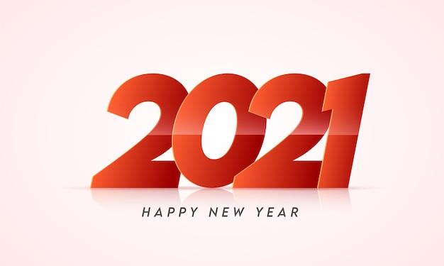 Estilo de corte de papel 2021 número em fundo rosa pastel brilhante para feliz ano novo.
