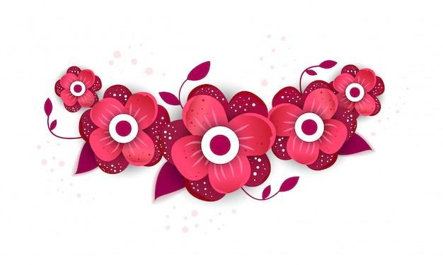 Estilo de corte de papel de flor brilhante