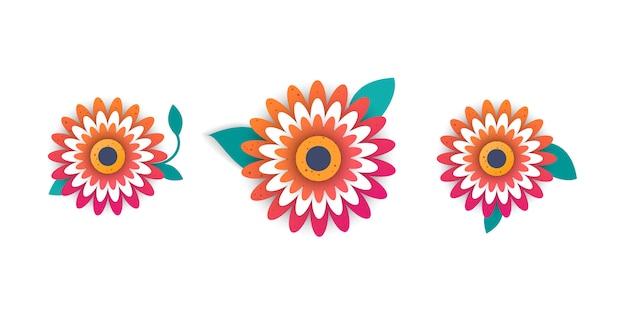 Estilo de corte de papel de flores brilhantes.