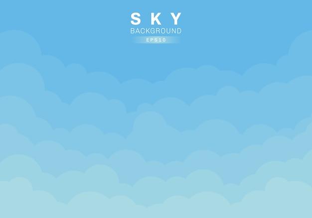 Estilo de corte de papel de fundo azul céu e nuvens