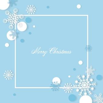 Estilo de corte de papel de fundo de flocos de neve de natal