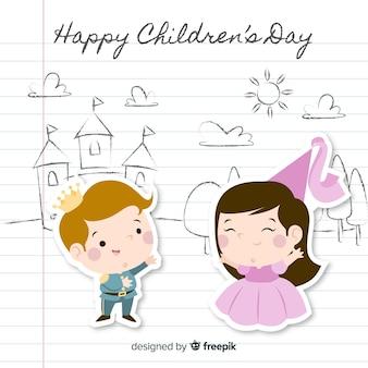 Estilo de corte de papel de fundo feliz dia das crianças