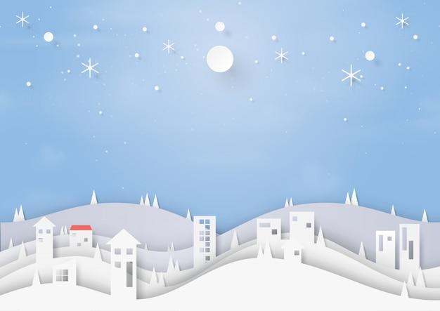 Estilo de corte de papel de fundo inverno e paisagem urbana