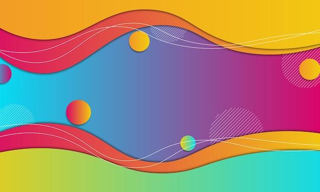 Estilo de corte de papel de onda gradiente abstrata com fundo de linhas brancas.