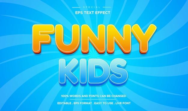 Estilo de crianças engraçadas com efeito de texto editável