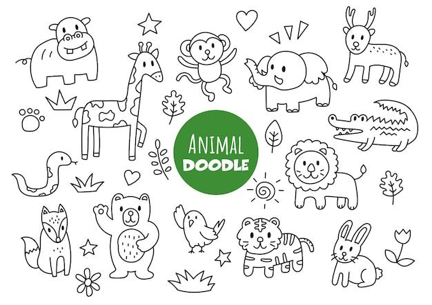Estilo de desenho à mão animal kawaii doodle Vetor Premium