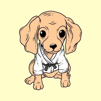 Estilo de desenho à mão de cachorro de caratê