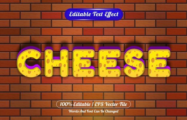 Estilo de desenho animado 3d com efeito de texto editável cheese