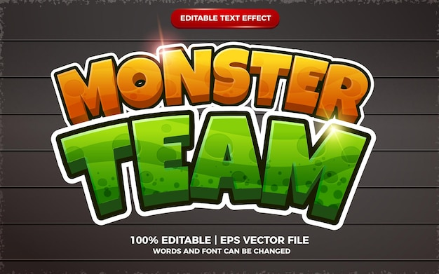Estilo de desenho animado 3d com efeito de texto editável monster team