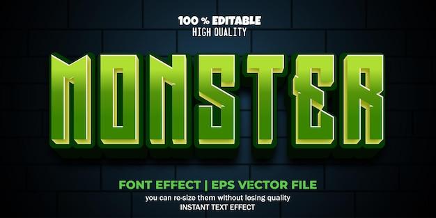 Estilo de desenho animado 3d com efeito de texto editável monstro