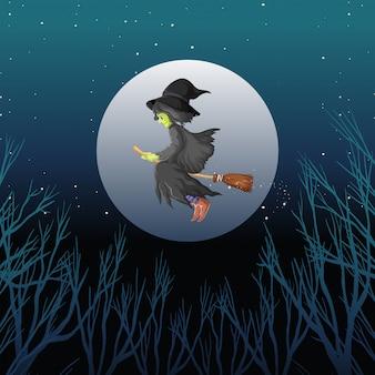 Estilo de desenho animado bruxa montando vassoura no fundo do céu escuro Vetor grátis