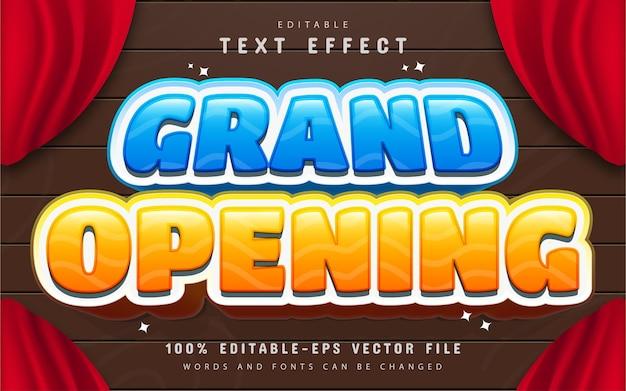 Estilo de desenho animado com efeito de texto de inauguração