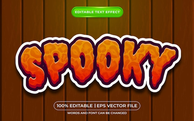 Estilo de desenho animado com efeito de texto editável assustador