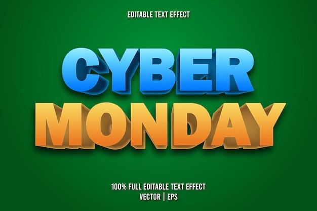 Estilo de desenho animado com efeito de texto editável cyber segunda-feira
