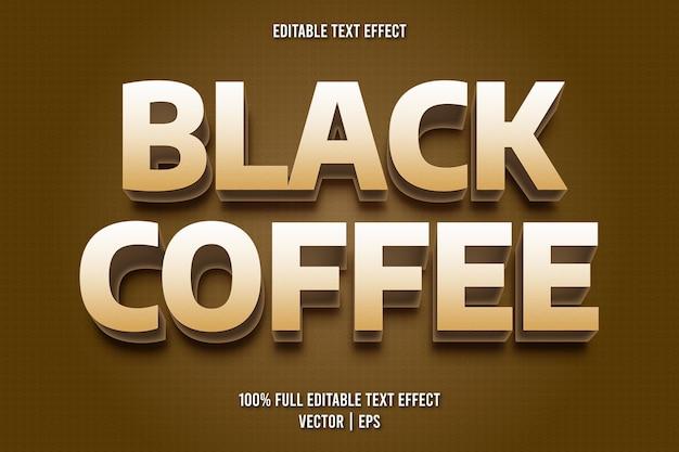 Estilo de desenho animado com efeito de texto editável de café preto