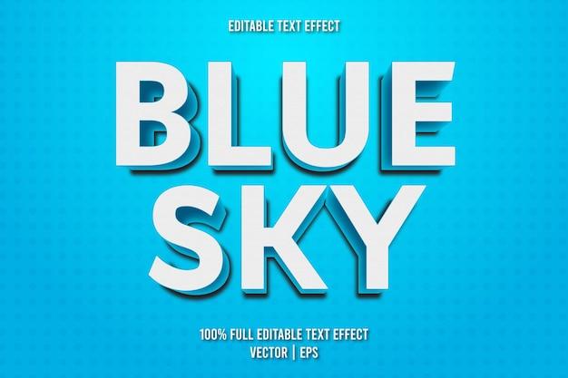 Estilo de desenho animado com efeito de texto editável de céu azul