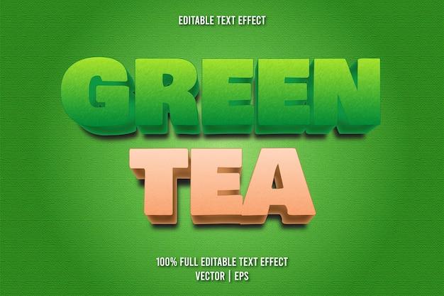 Estilo de desenho animado com efeito de texto editável de chá verde